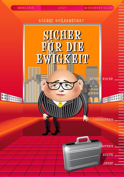dicker Mann sitzt im Fahrstuhl, Berater, Angestellter, Koffer, Übergewicht, Mann, Time machine,