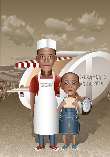 Vater und Sohn, Imbisswagen, Trailer, Fast food, Amerika, Dünen,  Wohnwagen, Sandwich,  Kind, Kellner, Koch