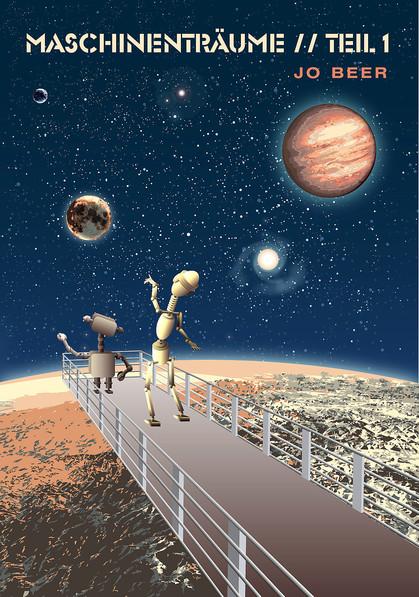 Weltall, Planeten, Roboter beobachen Sterne, Galaxie