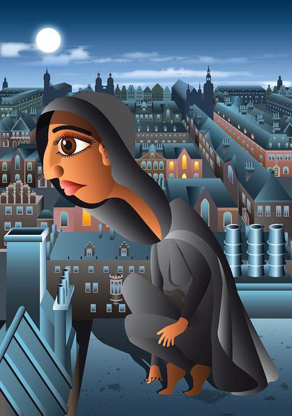 Muslimin auf Hausdach, Vogelperspektive, Stadt, Nacht, Inderin, Umhang, Frau, Mädchen