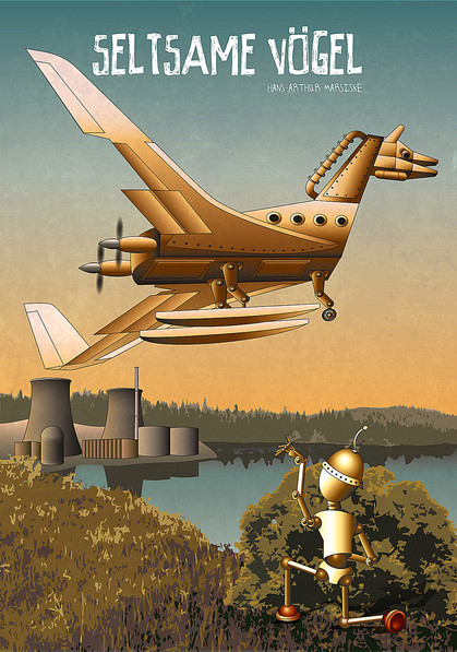 Roboter beobachtet Flugobjekt, Atomkraftwerk, Flugzeug