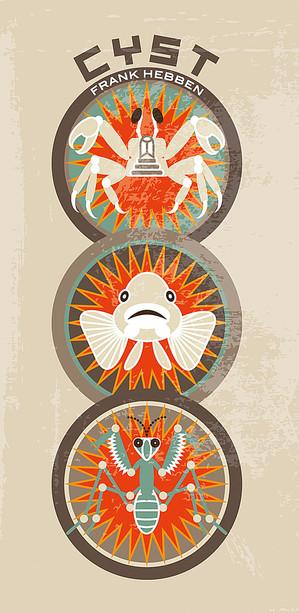 Logos mit Krebs, Fisch und Heuschrecke