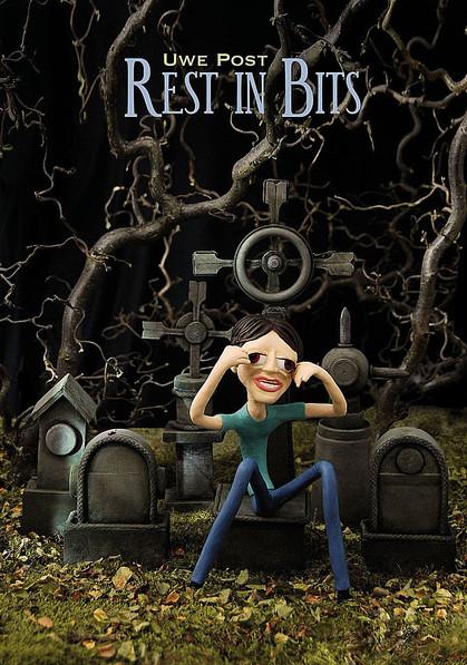 Mann sitzt auf Grabstein, Knetfigur, Knetmännchen, Grab, Friedhof, Angst, Kopfschmerz, Halloween, ,Trauer