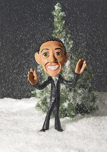 Obama im Schnee, Knetfigur
