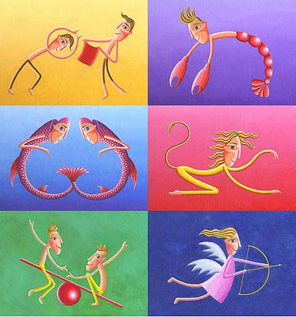 Illustrationen Tierkreiszeichen, Horoskop