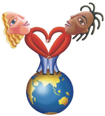 2 Kinder bilden ein Herz, Globus, Frieden