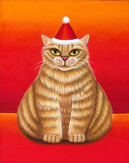 dicke Katze mit Nikolausmütze
