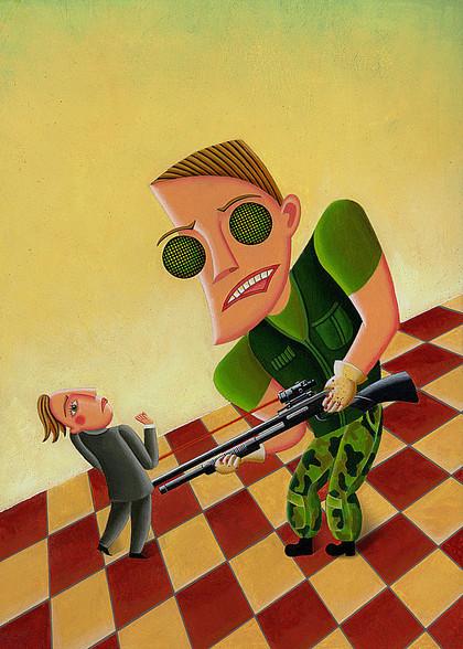 Terminator bedroht kleinen Mann, Gewehr