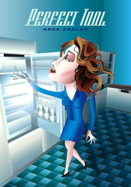 Frau repariert Kühlschrank
