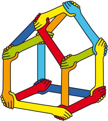 Stakeholder, Interessengruppe, Teilhaber,  Firma, Verein, Business, Stakeholder Value, Stakeholderansatz, Stakeholderkonzept, Stakeholdermanagement, vector, Vektor, Haus aus Händen, Hände schütteln,
