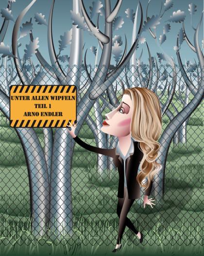 blonde Frau, Elektrozaun, Bäume, Wald, Vektor