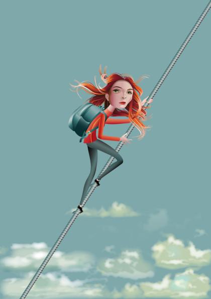 Klettern, climbing, über der Wolken, Himmel, Seilklettern, Frau, Seil