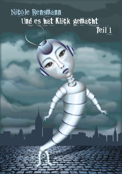 Silberfischchen, Lepisma saccharina, Roboter, Künstliche Intelligenz, KI, Kopfsteinpflaster, Roboterfrau,Mädchen, Skyline, Wolken, Sturm, Wolkenhimmel, Nacht, Nachthimmel,