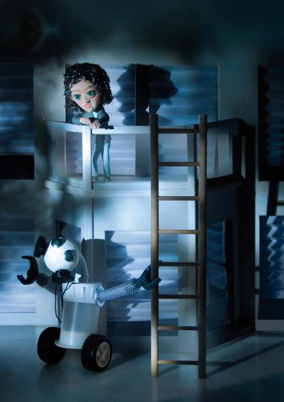 Roboter, Figurine, Knetmännchen, Knetfigur, Haus, Balkon, Bauhaus, Leiter, Haus, Nacht