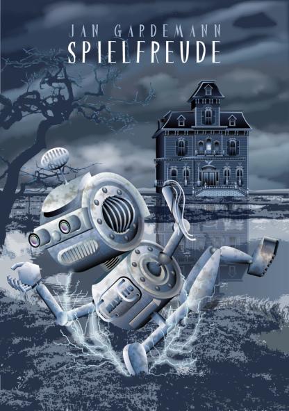 Roboter,Tsunami, Teslaspule, Blitze, Blitzgewitter, Matsch, Überschwemmung, Hochwasser, Herrenhaus, Villa, haunted Mansion, geflutete Landschaft, Illustration, Vektor, r,