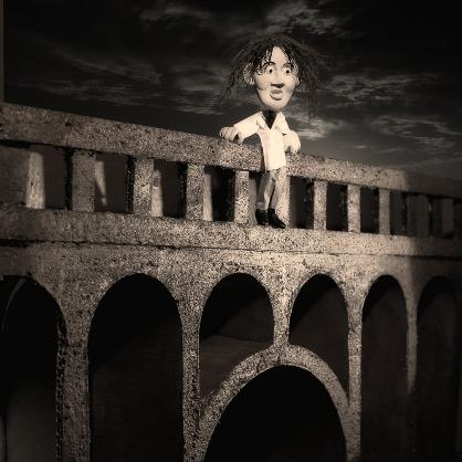 Mann, Selbstmörder, Brücke, Selbstmord, Suizid, Sprung, Tod, Nacht, Schwarz-Weiß, Knetmännchen, Figurine,