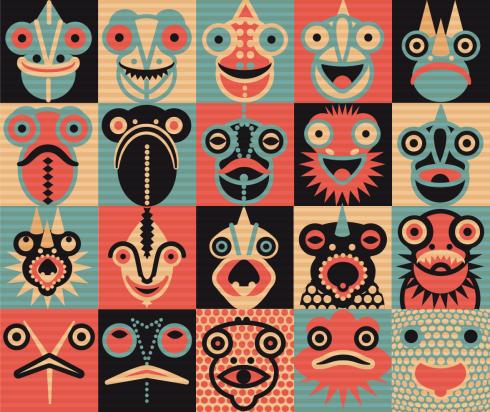 Chamäleon, Chameleon, Logo, Icon, Vignette, Muster, pattern