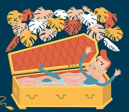 Illustration, Vektor, coffin, Vector,  jungle, Sarg, Taucher, Dschungel, Philodendron