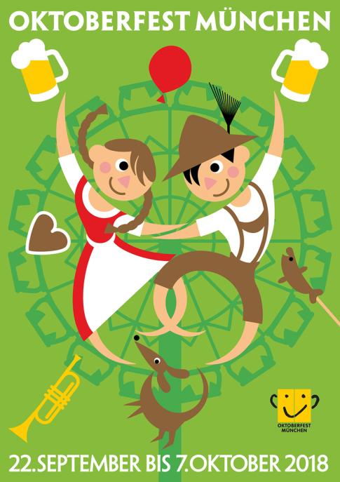 oktoberfest, Susanne Wustmann, Oktoberfest 2018, Oktoberfest München, Münchner Oktoberfest, Plakat, Wettbewerb, Plakatwettbewerb, Munich, Wiesnplakat, Poster, postercompetition,