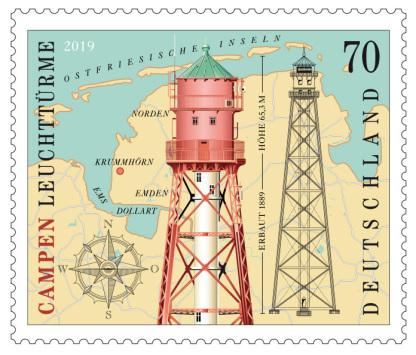 Leuchtturm Campen, Campen,Briefmarke, stamp, lighthouse, Leuchttrm, Susanne Wustmann, Krummhörn, Leuchtturm Vektor, Ostfriesland, Leuchtturm Illustration,
