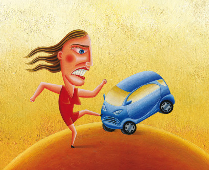 Aggression, Auto, Smart, Wut, Frau,